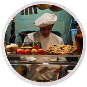 The Pizza Maker Round Beach Towel