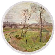 The Plain At Gennevilliers Round Beach Towel