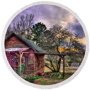 The Play House At Sunset Near Lake Oconee. Round Beach Towel