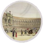 The Plaza Of Seville, 1865 Round Beach Towel