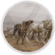 The Ploughman Wilmington Polegate Near Eastbourne Round Beach Towel