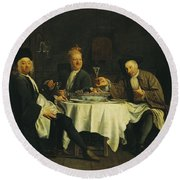 The Poet Alexis Piron 1689-1773 At The Table With His Friends, Jean Joseph Vade 1720-57 And Charles Round Beach Towel