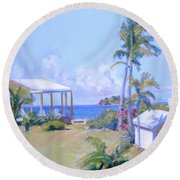 The Point Morning Light Round Beach Towel
