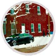 The Point Pointe St Charles Snowy Walk Past Red Brick House Winter City Scene Carole Spandau Round Beach Towel