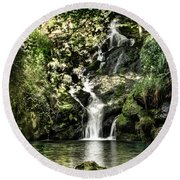 The Pond And The Forest Waterfall Round Beach Towel