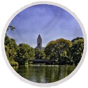 The Pond - Central Park Round Beach Towel