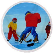 The Pond Hockey Game Round Beach Towel