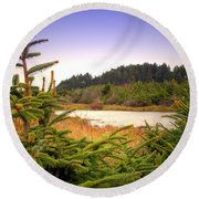 The Pond In The Forest Round Beach Towel
