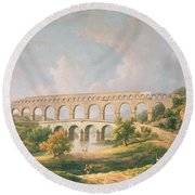 The Pont Du Gard, Nimes Round Beach Towel