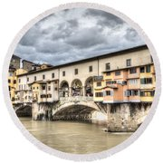 The Ponte Vecchio In Florence Round Beach Towel