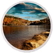 The Pool Below Upper Falls Rumford Maine Round Beach Towel by Bob Orsillo