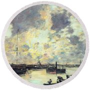The Port Round Beach Towel by Eugene Louis Boudin