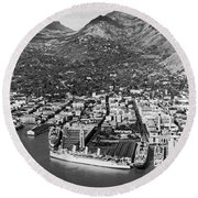 The Port Of Honolulu Round Beach Towel
