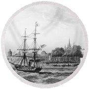 The Port Of New Orleans Round Beach Towel