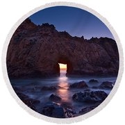 The Portal - Sunset On Arch Rock In Pfeiffer Beach Big Sur In California. Round Beach Towel by Jamie Pham