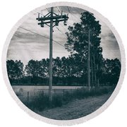 The Power Lines  Round Beach Towel