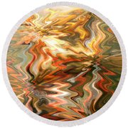 Gray And Orange Peaceful Abstract Art Round Beach Towel