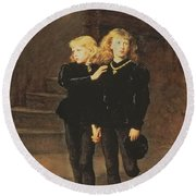 The Princes Edward And Richard Round Beach Towel by Sir John Everett Millais