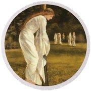The Princess Tied To A Tree Round Beach Towel by Sir Edward Coley Burne-Jones