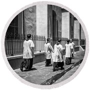 The Procession - Black And White Round Beach Towel
