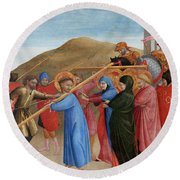 The Procession To Calvary Round Beach Towel