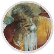 The Prophet Jeremiah Round Beach Towel by Michelangelo