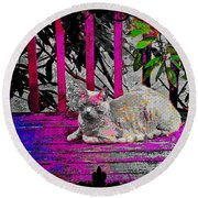The Psychedelic Cat Round Beach Towel