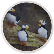 The Puffin Report Round Beach Towel