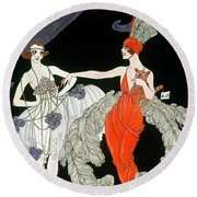 The Purchase  Round Beach Towel by Georges Barbier