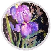 The Purple Iris Round Beach Towel