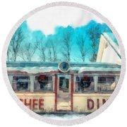 The Quechee Diner Vermont Round Beach Towel