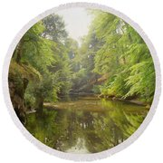 The Quiet River Round Beach Towel