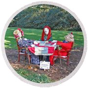 The Quilting Bee Scarecrows Round Beach Towel