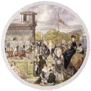 The Races At Longchamp In 1874 Round Beach Towel