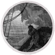 The Rain Begins To Fall Round Beach Towel by Gustave Dore