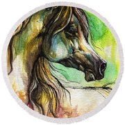 The Rainbow Colored Arabian Horse Round Beach Towel