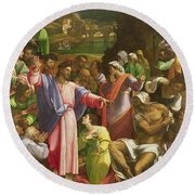 The Raising Of Lazarus, C.1517-19 Oil On Canvas Transferred From Wood Round Beach Towel