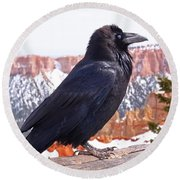 The Raven Round Beach Towel by Rona Black