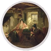 The Ray Of Sunlight, 1857 Oil On Canvas Round Beach Towel