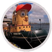 The Real Theodore Tug Boat Lives In Halifax Round Beach Towel