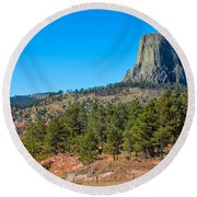The Realm Of Devils Tower Round Beach Towel