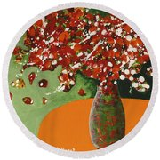 The Red And Green Vase Round Beach Towel