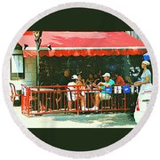 The Red Awning Cafe On St. Denis - A Shady Spot To Enjoy A Cold Beer On A Very Hot Sunday In July Round Beach Towel