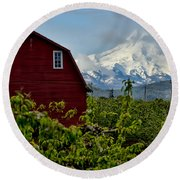 The Red Barn And Mt. Hood Round Beach Towel