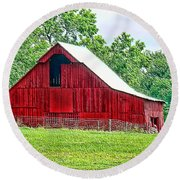 The Red Barn - Featured In Old Buildings And Ruins Group Round Beach Towel
