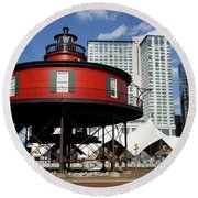 The Red Beacon From Baltimore Harbor Round Beach Towel