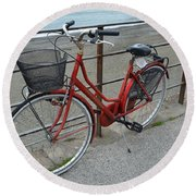 The Red Bicycle Round Beach Towel