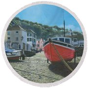 The Red Boat Polperro Corwall Round Beach Towel