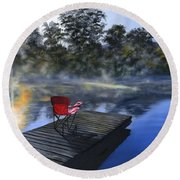 The Red Chair Round Beach Towel