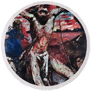 The Red Christ Round Beach Towel